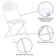 Flash Furniture LE-L-4-WHITE-GG HERCULES White Plastic Fan Back Folding Chair addl-5