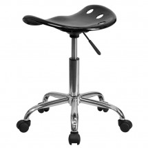 Flash Furniture LF-214A-BLACK-GG Vibrant Black Tractor Seat and Chrome Stool addl-2