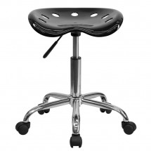 Flash Furniture LF-214A-BLACK-GG Vibrant Black Tractor Seat and Chrome Stool addl-3