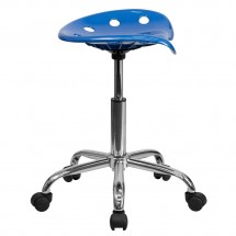 Flash Furniture LF-214A-BRIGHTBLUE-GG Vibrant Bright Blue Tractor Seat and Chrome Stool addl-1
