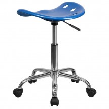 Flash Furniture LF-214A-BRIGHTBLUE-GG Vibrant Bright Blue Tractor Seat and Chrome Stool addl-2