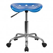Flash Furniture LF-214A-BRIGHTBLUE-GG Vibrant Bright Blue Tractor Seat and Chrome Stool addl-3