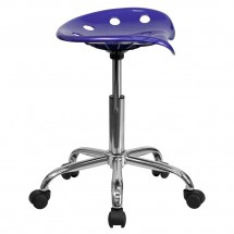 Flash Furniture LF-214A-DEEPBLUE-GG Vibrant Deep Blue Tractor Seat and Chrome Stool addl-1