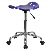 Flash Furniture LF-214A-DEEPBLUE-GG Vibrant Deep Blue Tractor Seat and Chrome Stool addl-2