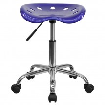 Flash Furniture LF-214A-DEEPBLUE-GG Vibrant Deep Blue Tractor Seat and Chrome Stool addl-3