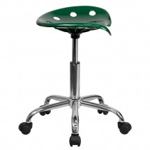 Flash Furniture LF-214A-GREEN-GG Vibrant Green Tractor Seat and Chrome Stool addl-1