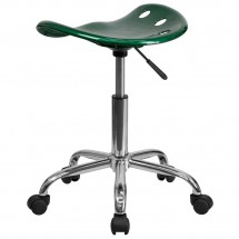 Flash Furniture LF-214A-GREEN-GG Vibrant Green Tractor Seat and Chrome Stool addl-2