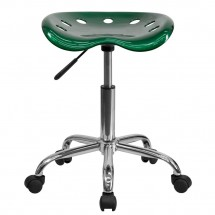 Flash Furniture LF-214A-GREEN-GG Vibrant Green Tractor Seat and Chrome Stool addl-3