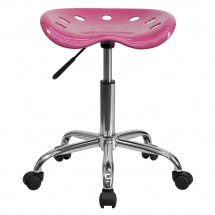 Flash Furniture LF-214A-PINK-GG Vibrant Pink Tractor Seat and Chrome Stool addl-3