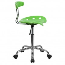 Flash Furniture LF-214-APPLEGREEN-GG Vibrant Apple Green and Chrome Computer Task Chair with Tractor Seat addl-1