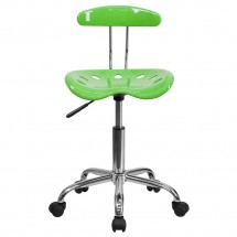 Flash Furniture LF-214-APPLEGREEN-GG Vibrant Apple Green and Chrome Computer Task Chair with Tractor Seat addl-3