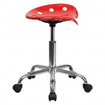Flash Furniture LF-214A-RED-GG Vibrant Red Tractor Seat and Chrome Stool addl-1