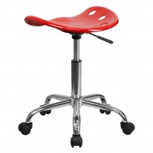 Flash Furniture LF-214A-RED-GG Vibrant Red Tractor Seat and Chrome Stool addl-2