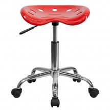 Flash Furniture LF-214A-RED-GG Vibrant Red Tractor Seat and Chrome Stool addl-3