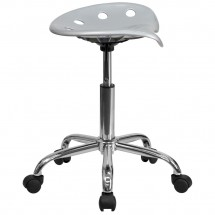 Flash Furniture LF-214A-SILVER-GG Vibrant Silver Tractor Seat and Chrome Stool addl-1