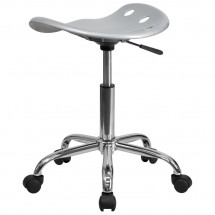 Flash Furniture LF-214A-SILVER-GG Vibrant Silver Tractor Seat and Chrome Stool addl-2
