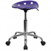 Flash Furniture LF-214A-VIOLET-GG Vibrant Violet Tractor Seat and Chrome Stool addl-1