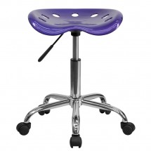 Flash Furniture LF-214A-VIOLET-GG Vibrant Violet Tractor Seat and Chrome Stool addl-3
