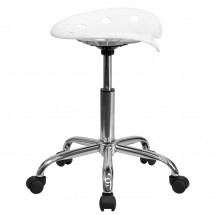 Flash Furniture LF-214A-WHITE-GG Vibrant White Tractor Seat and Chrome Stool addl-1
