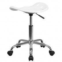 Flash Furniture LF-214A-WHITE-GG Vibrant White Tractor Seat and Chrome Stool addl-2