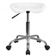 Flash Furniture LF-214A-WHITE-GG Vibrant White Tractor Seat and Chrome Stool addl-3