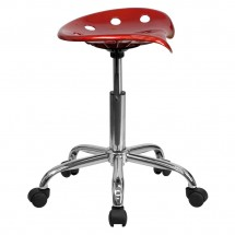 Flash Furniture LF-214A-WINERED-GG Vibrant Wine Red Tractor Seat and Chrome Stool addl-1