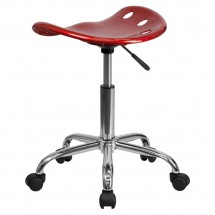 Flash Furniture LF-214A-WINERED-GG Vibrant Wine Red Tractor Seat and Chrome Stool addl-2