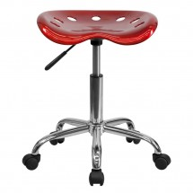 Flash Furniture LF-214A-WINERED-GG Vibrant Wine Red Tractor Seat and Chrome Stool addl-3