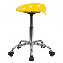 Flash Furniture LF-214A-YELLOW-GG Vibrant Orange-Yellow Tractor Seat and Chrome Stool addl-1