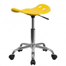 Flash Furniture LF-214A-YELLOW-GG Vibrant Orange-Yellow Tractor Seat and Chrome Stool addl-2