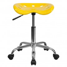 Flash Furniture LF-214A-YELLOW-GG Vibrant Orange-Yellow Tractor Seat and Chrome Stool addl-3