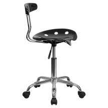 Flash Furniture LF-214-BLK-GG Black and Chrome Computer Task Chair with Tractor Seat addl-1