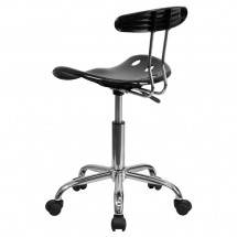 Flash Furniture LF-214-BLK-GG Black and Chrome Computer Task Chair with Tractor Seat addl-2