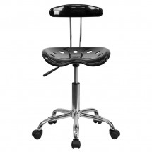 Flash Furniture LF-214-BLK-GG Black and Chrome Computer Task Chair with Tractor Seat addl-3