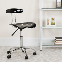 Flash Furniture LF-214-BLK-GG Black and Chrome Computer Task Chair with Tractor Seat addl-4