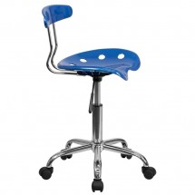 Flash Furniture LF-214-BRIGHTBLUE-GG Blue and Chrome Computer Task Chair with Tractor Seat addl-1