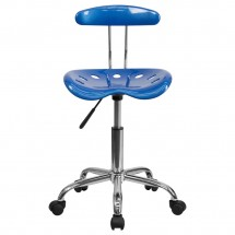 Flash Furniture LF-214-BRIGHTBLUE-GG Blue and Chrome Computer Task Chair with Tractor Seat addl-3