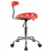Flash Furniture LF-214-CHERRYTOMATO-GG Vibrant Cherry Tomato and Chrome Computer Task Chair with Tractor Seat addl-1
