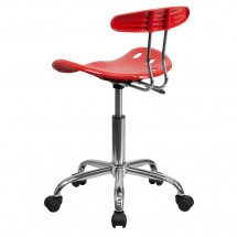 Flash Furniture LF-214-CHERRYTOMATO-GG Vibrant Cherry Tomato and Chrome Computer Task Chair with Tractor Seat addl-2