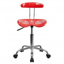 Flash Furniture LF-214-CHERRYTOMATO-GG Vibrant Cherry Tomato and Chrome Computer Task Chair with Tractor Seat addl-3