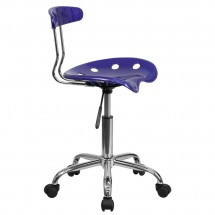Flash Furniture LF-214-DEEPBLUE-GG Vibrant Deep Blue and Chrome Computer Task Chair with Tractor Seat addl-1