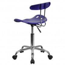 Flash Furniture LF-214-DEEPBLUE-GG Vibrant Deep Blue and Chrome Computer Task Chair with Tractor Seat addl-2