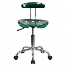 Flash Furniture LF-214-GREEN-GG Vibrant Green and Chrome Computer Task Chair with Tractor Seat addl-3