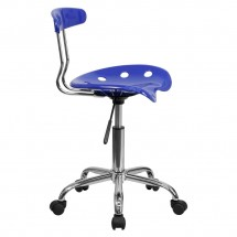 Flash Furniture LF-214-NAUTICALBLUE-GG Vibrant Nautical Blue and Chrome Computer Task Chair with Tractor Seat addl-1