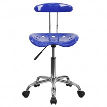 Flash Furniture LF-214-NAUTICALBLUE-GG Vibrant Nautical Blue and Chrome Computer Task Chair with Tractor Seat addl-3