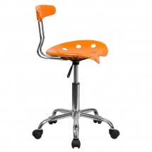 Flash Furniture LF-214-ORANGEYELLOW-GG Vibrant Orange and Chrome Computer Task Chair with Tractor Seat addl-1