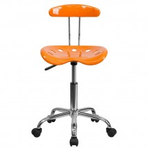 Flash Furniture LF-214-ORANGEYELLOW-GG Vibrant Orange and Chrome Computer Task Chair with Tractor Seat addl-3