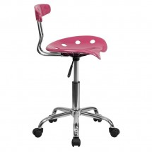 Flash Furniture LF-214-PINK-GG Vibrant Pink and Chrome Computer Task Chair with Tractor Seat addl-1