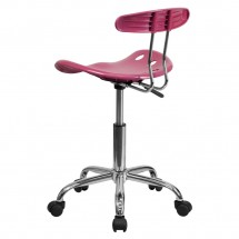 Flash Furniture LF-214-PINK-GG Vibrant Pink and Chrome Computer Task Chair with Tractor Seat addl-2