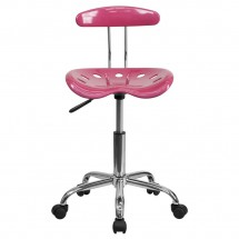 Flash Furniture LF-214-PINK-GG Vibrant Pink and Chrome Computer Task Chair with Tractor Seat addl-3